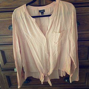 a.n.a mixed media tie front top...soft pink...XL